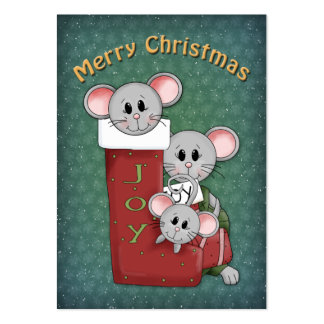 Christmas Stocking with Mice Large Business Cards (Pack Of 100)