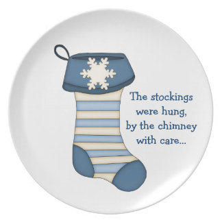 Christmas Stocking with Quote/Blue Dinner Plate