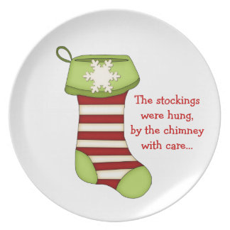 Christmas Stocking with Quote Melamine Plate