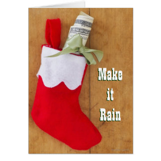 Christmas stocking with roll of money greeting card