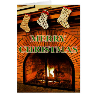christmas stockings and fireplace card