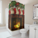 Christmas Stockings and Fireplace Shower Curtain