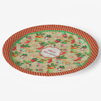 Christmas Stockings and Toys Paper Plates