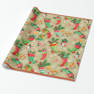 Christmas Stockings and Toys Gift Wrapping Paper