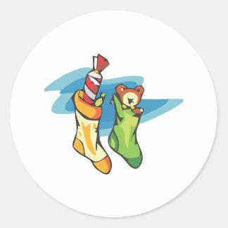 Christmas Stockings Classic Round Sticker