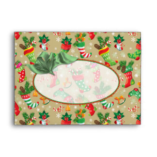 "Christmas Stockings -  fits 5""x7"" cards Envelope"