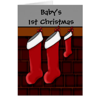 Christmas stockings for Baby's 1st Christmas Cards