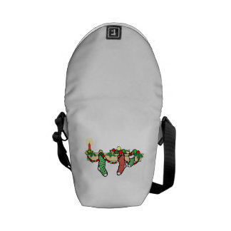 Christmas Stockings Hanging From Mantle Messenger Bags