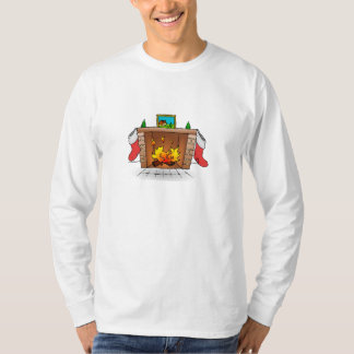 Christmas Stockings Hanging Over Fireplace T-Shirt