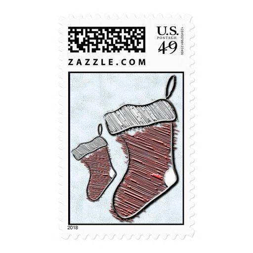 Christmas Stockings, Ice Blue, Postage