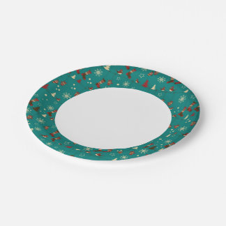 Christmas stockings pattern paper plate