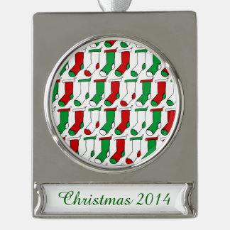 Christmas Stockings Silver Plated Banner Ornament