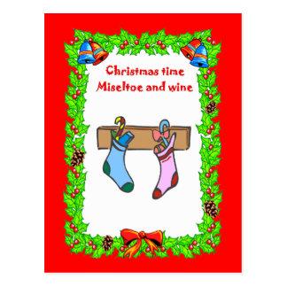 Christmas stockings postcard