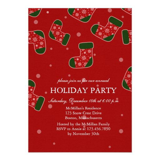 Christmas stockings red Holiday Party invitation