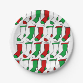 Christmas Stockings Socks Paper Plate
