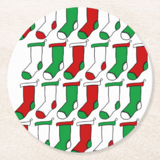 Christmas Stockings Socks Round Paper Coaster