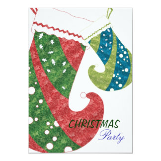 Christmas Stockings Trendy Holiday Party Card