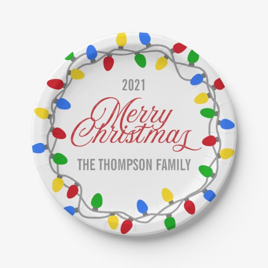 Christmas String of Lights | Circle Custom Paper Plate ...