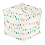 Christmas String of Lights Pattern Cube Pouf
