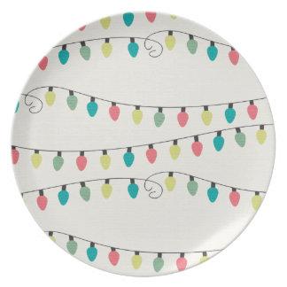 Christmas String of Lights Pattern Dinner Plates