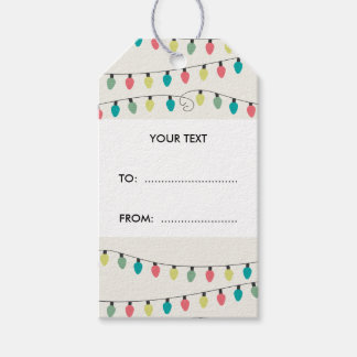 Christmas String of Lights Pattern Gift Tags