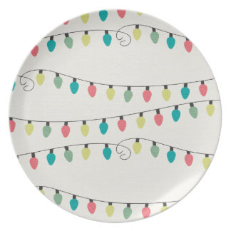 Christmas String of Lights Pattern Melamine Plate