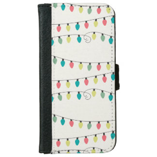 Christmas String of Lights Pattern iPhone 6 Wallet Case