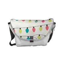 Christmas String of Lights Pattern Small Messenger Bag