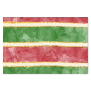 Christmas Themed Christmas Stripe Red Green Watercolor Gold Glitter Tissue Paper