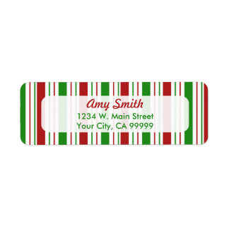 Christmas Stripes Address Labels