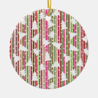 Christmas stripes and dots ceramic ornament