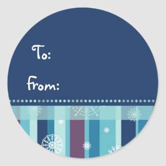 Christmas Stripes and Snowflakes Gift Tags Round Sticker