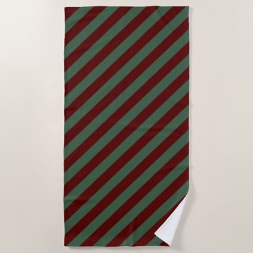Beach Themed Christmas Stripes Beach Towel
