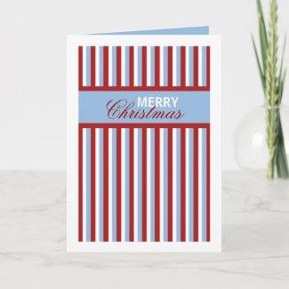 Christmas Stripes blue Christmas Card card
