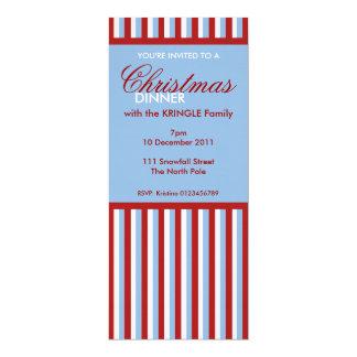 "Christmas Stripes blue Christmas Dinner Invitation 4"" X 9.25"" Invitation Card"