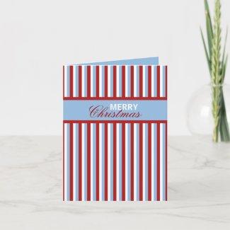 Christmas Stripes blue Christmas Note Card card