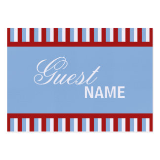 Christmas Stripes blue Dinner Place Card Large Business Cards (Pack Of 100)