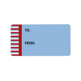 Christmas Stripes blue Gift Tag Address Label