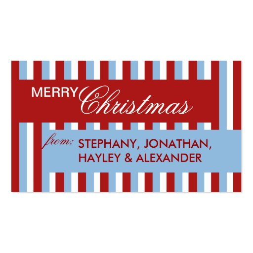 Christmas Stripes blue Gift Tag Business Cards