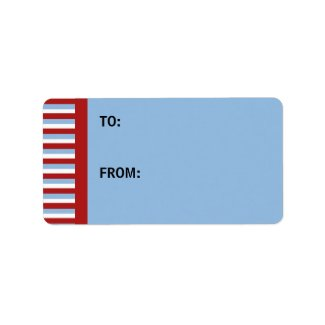 Christmas Stripes blue Gift Tag label