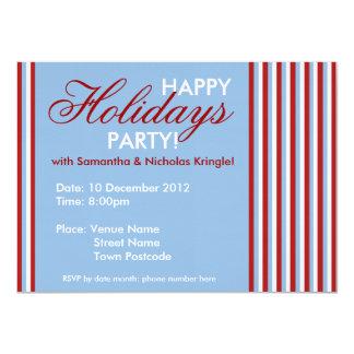 "Christmas Stripes blue Holiday Party Invitation 4.5"" X 6.25"" Invitation Card"