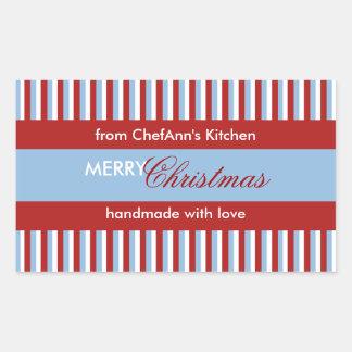 Christmas Stripes blue Kitchen Jar Label Rectangle Rectangular Sticker