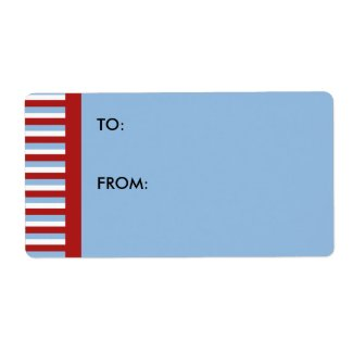 Christmas Stripes blue large Gift Tag label