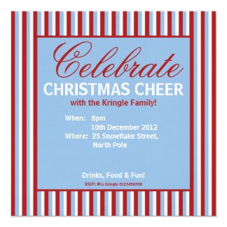 "Christmas Stripes blue Party Invitation 5.25"" Square Invitation Card"