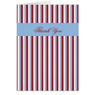 Christmas Stripes blue Thank You Card