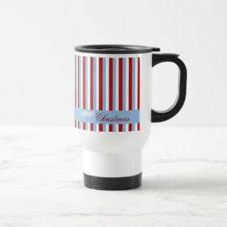 Christmas Stripes blue Travel Mug