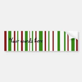 Christmas stripes car bumper sticker