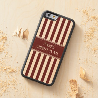 Christmas Stripes Carved® Maple iPhone 6 Bumper Case