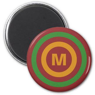 Christmas Stripes custom monogram magnet