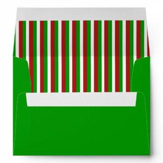 Christmas Stripes green A7 Envelope envelope